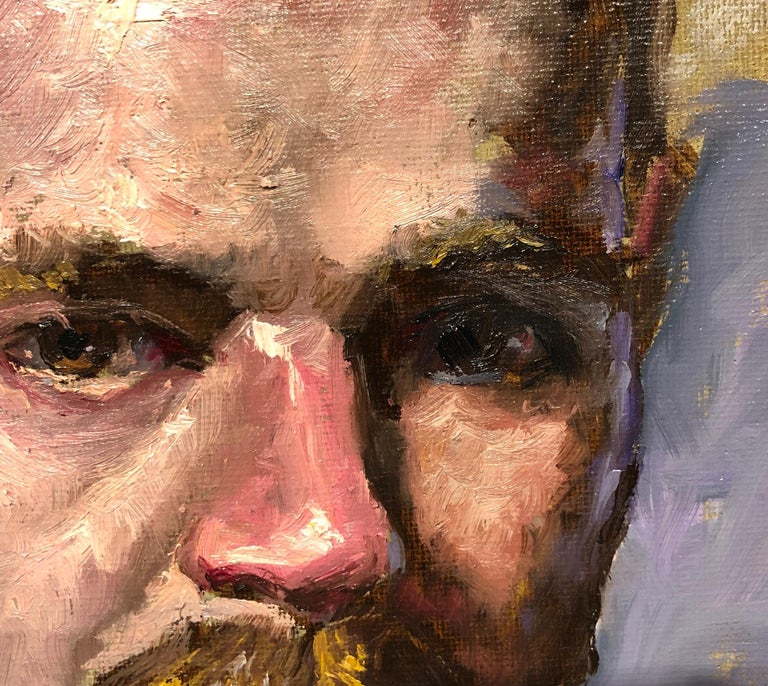 Doug, Male Figure with Tattoos, Full Beard and Mustache, Oil on Canvas, Framed 4