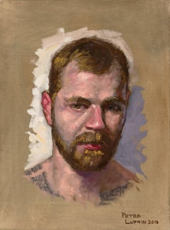 Doug, Male Figure with Tattoos, Full Beard and Mustache, Oil on Canvas, Framed