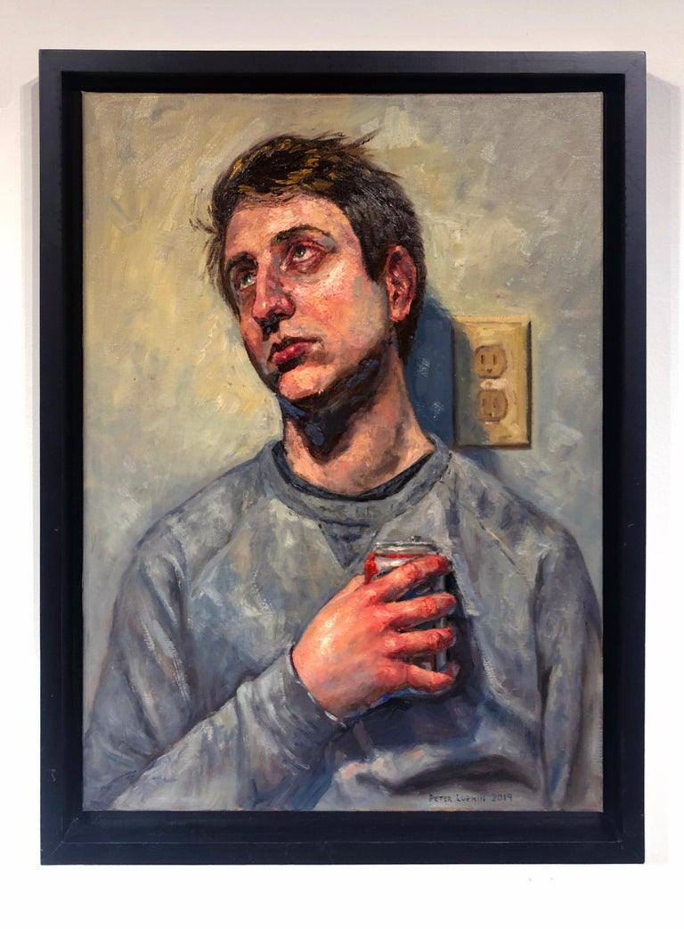 Ecstasy in Grey, Male Portrait Gazing Upwards, Holding a Can of Beer.  Framed. - Painting by Peter Lupkin