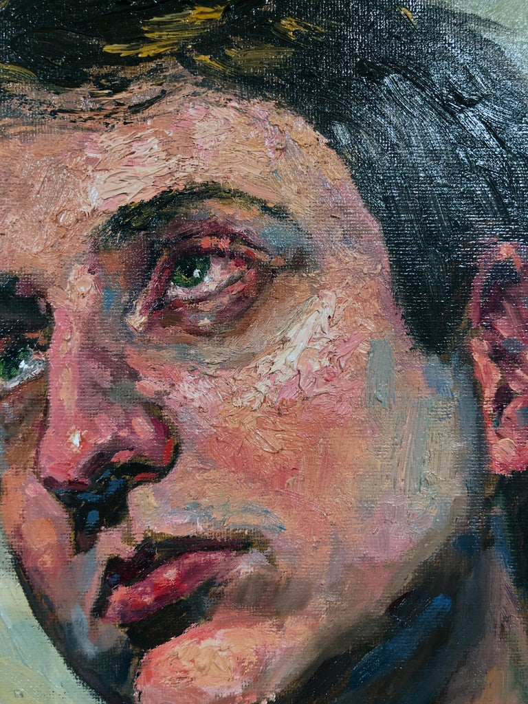 Ecstasy in Grey, Male Portrait Gazing Upwards, Holding a Can of Beer.  Framed. - Contemporary Painting by Peter Lupkin