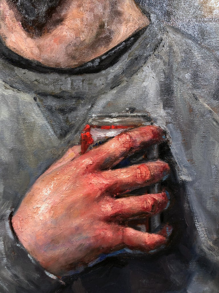 Ecstasy in Grey, Male Portrait Gazing Upwards, Holding a Can of Beer.  Framed. - Brown Figurative Painting by Peter Lupkin