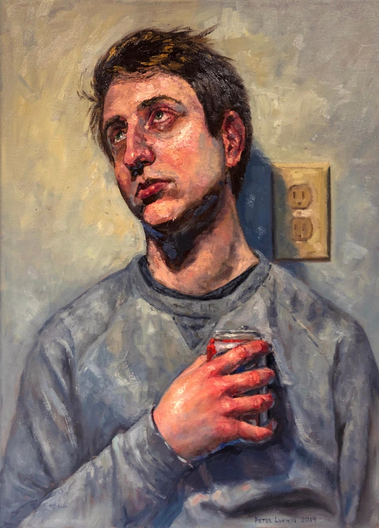 Peter Lupkin Figurative Painting - Ecstasy in Grey, Male Portrait Gazing Upwards, Holding a Can of Beer.  Framed.
