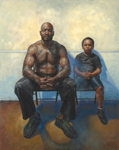 Father and Son,  Original Oil Painting, Two Seated Figures Against a Yellow Wall