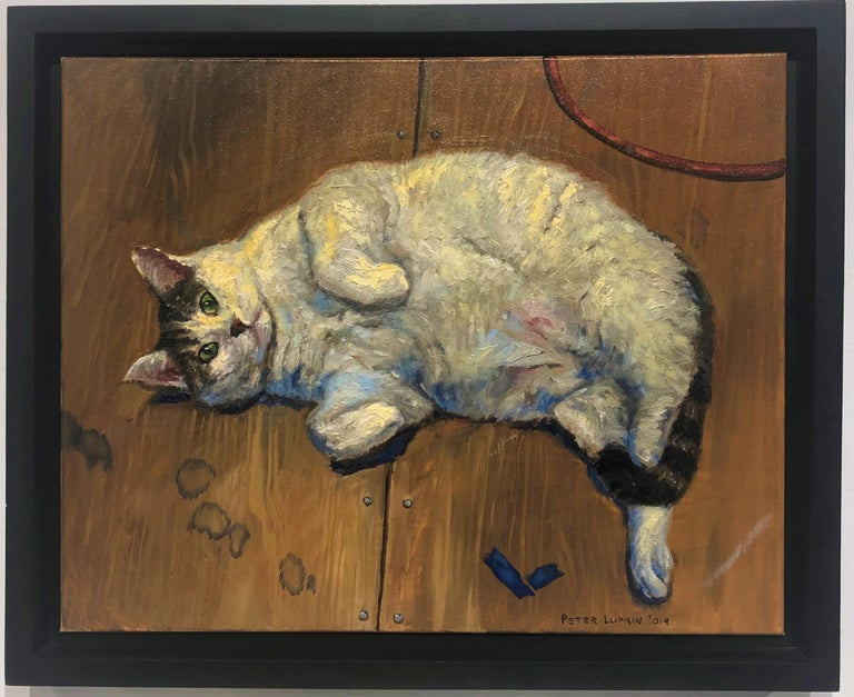 Gattone, Portrait of a Chubby Tabby Cat, Framed, Original Oil Painting For Sale 1