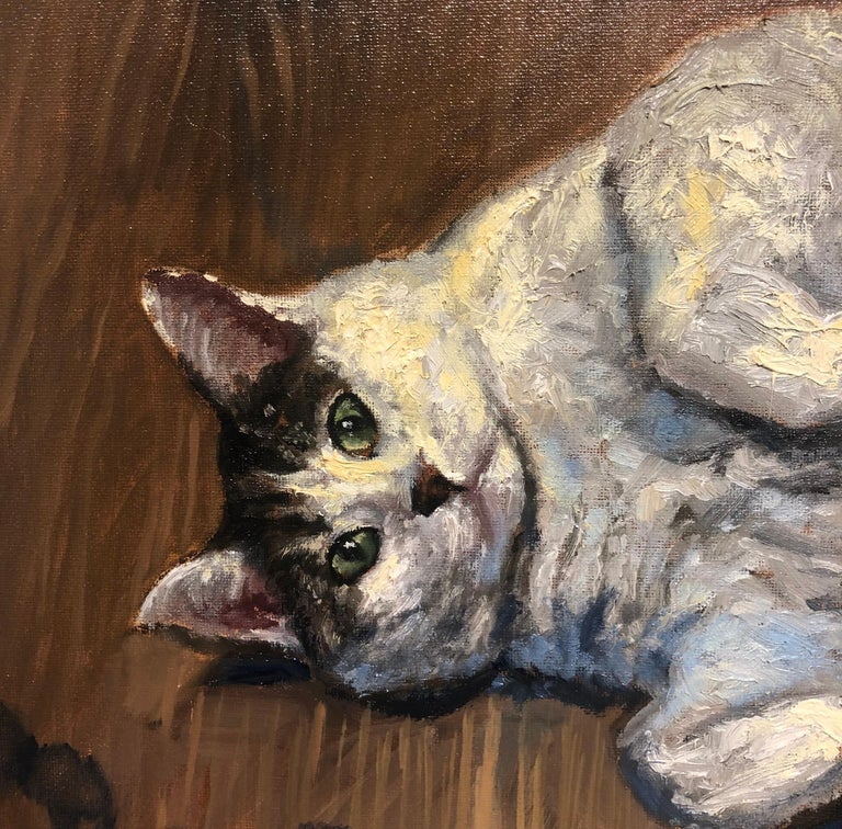Gattone, Portrait of a Chubby Tabby Cat, Framed, Original Oil Painting For Sale 2