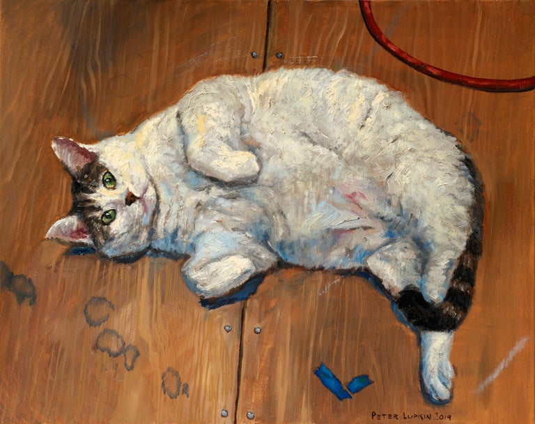 Gattone, artist Peter Lupkin's ever present studio cat, is painted here in her favorite pose beckoning the viewer to give her a belly rub.  The loose brushwork bodes well for this chubby feline's fur.  This original oil painting is framed in a