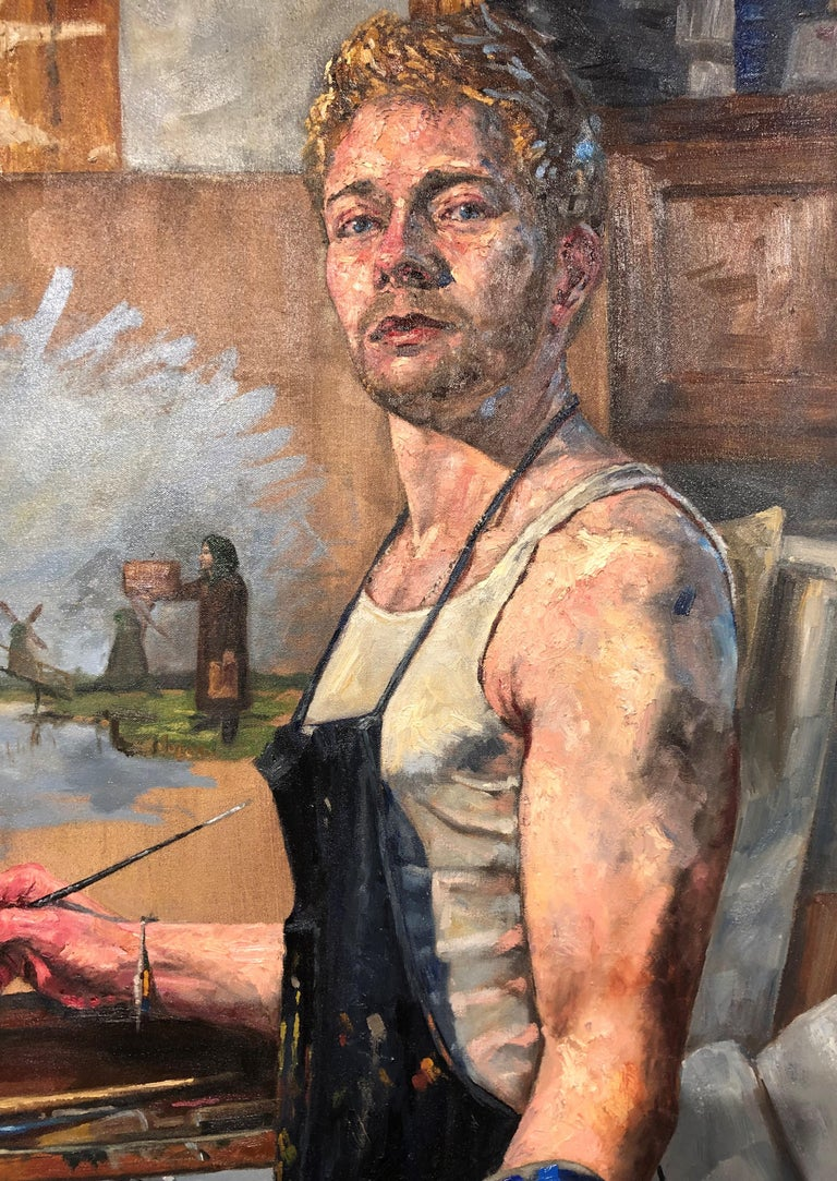 Not Windmills But Giants, Self Portrait of Artist in His Studio with Cat - Contemporary Painting by Peter Lupkin