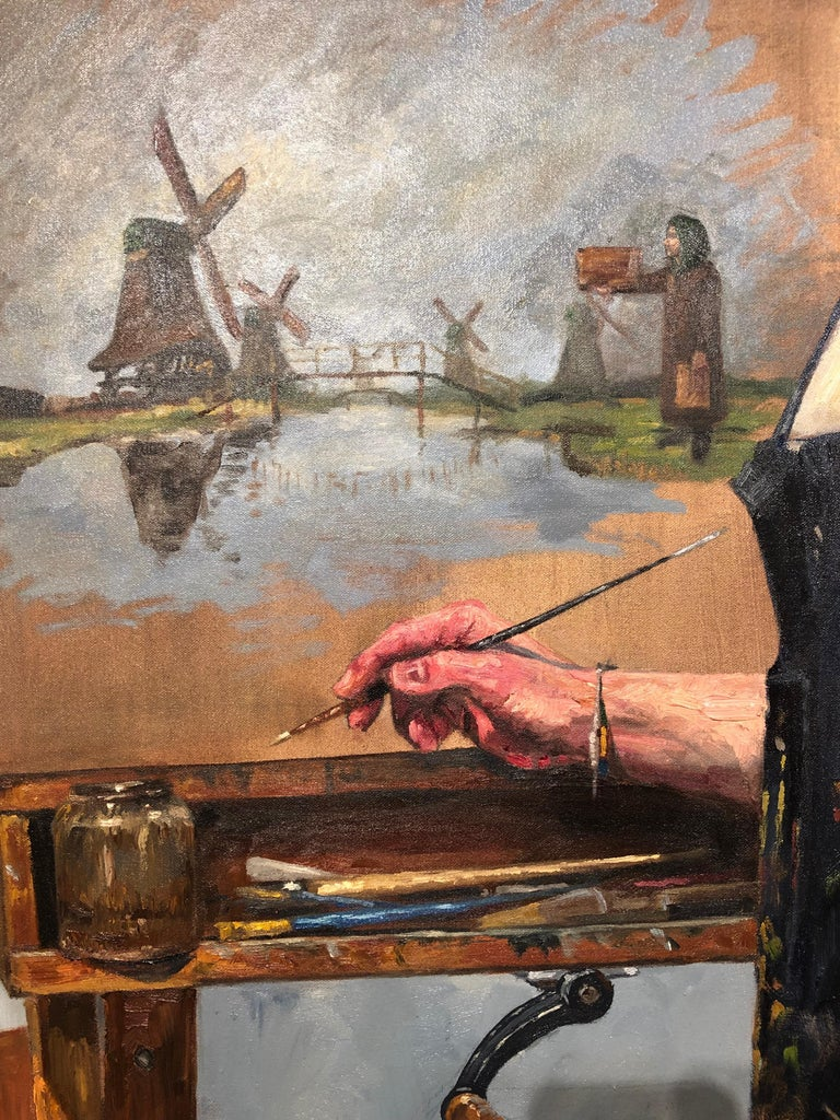 Not Windmills But Giants, Self Portrait of Artist in His Studio with Cat For Sale 1