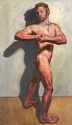 Nude Self Portrait #1 - Standing Male in Classical Pose, Original Oil Painting