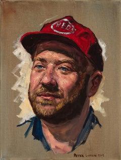 Portrait of a Bartender, John- Painting of a Guy Cincinnati Reds Baseball Cap