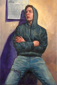 Portrait of William, April, 2020, Seated Male Wearing Gray Hoodie, Original Oil