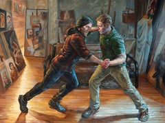 Push, Original Oil Painting of Two Males Sparring in an Artist Studio Space