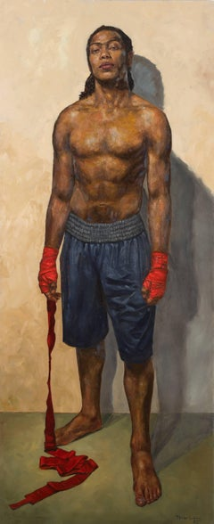 Pyrrhic Series:  Cost - Original Oil Painting of a Fighter with Red Hand Wrap