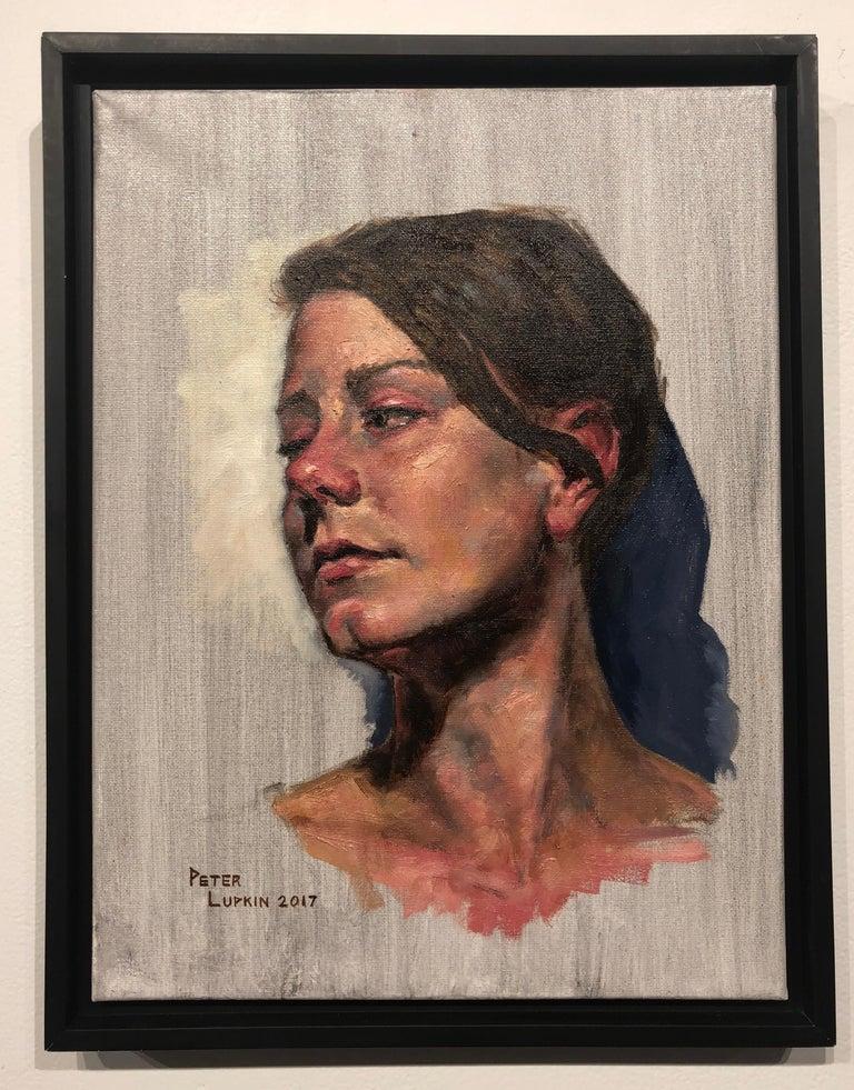 Untitled, Portrait of a Female Gazing Over Her Shoulder, Original Oil on Canvas 2