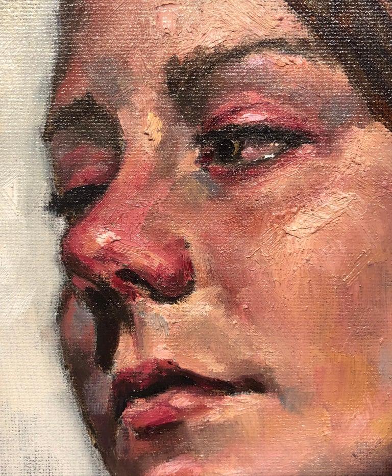 Untitled, Portrait of a Female Gazing Over Her Shoulder, Original Oil on Canvas 3