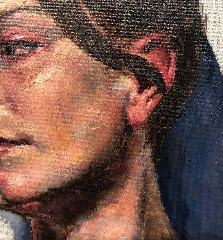 Untitled, Portrait of a Female Gazing Over Her Shoulder, Original Oil on Canvas 4