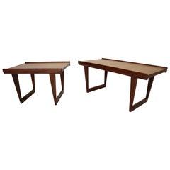 Peter Løvig Nielsen Set of 2 Teak Coffee Tables with Sled Legs, 1967, Denmark