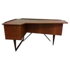 Peter Løvig Nielsen Teak Boomerang Desk Danish Denmark, 1968