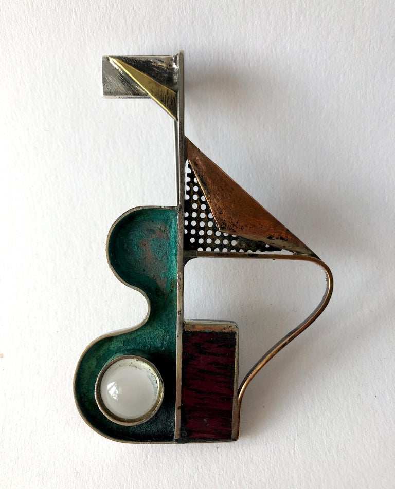 Cabochon Peter Macchiarini Sterling Bronze Moonstone Purple Heart Wood Modernist Brooch For Sale