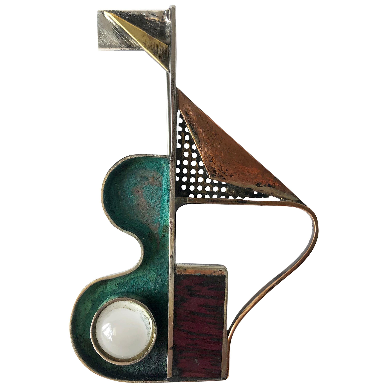 Peter Macchiarini Sterling Bronze Moonstone Purple Heart Wood Modernist Brooch