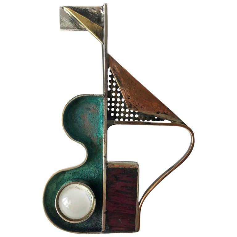 Peter Macchiarini Sterling Bronze Moonstone Purple Heart Wood Modernist Brooch For Sale