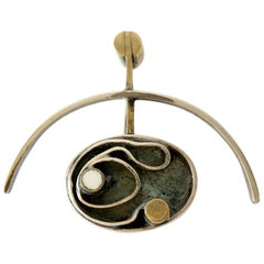 Peter Macchiarini Sterling Silver Brass American Modernist Brooch