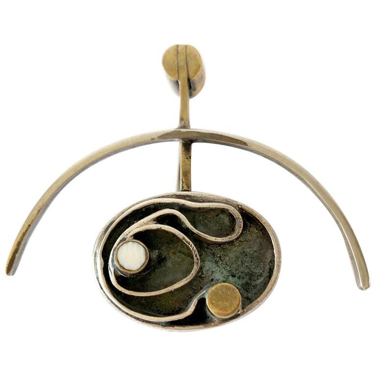 Peter Macchiarini Sterling Silver Brass American Modernist Brooch For Sale