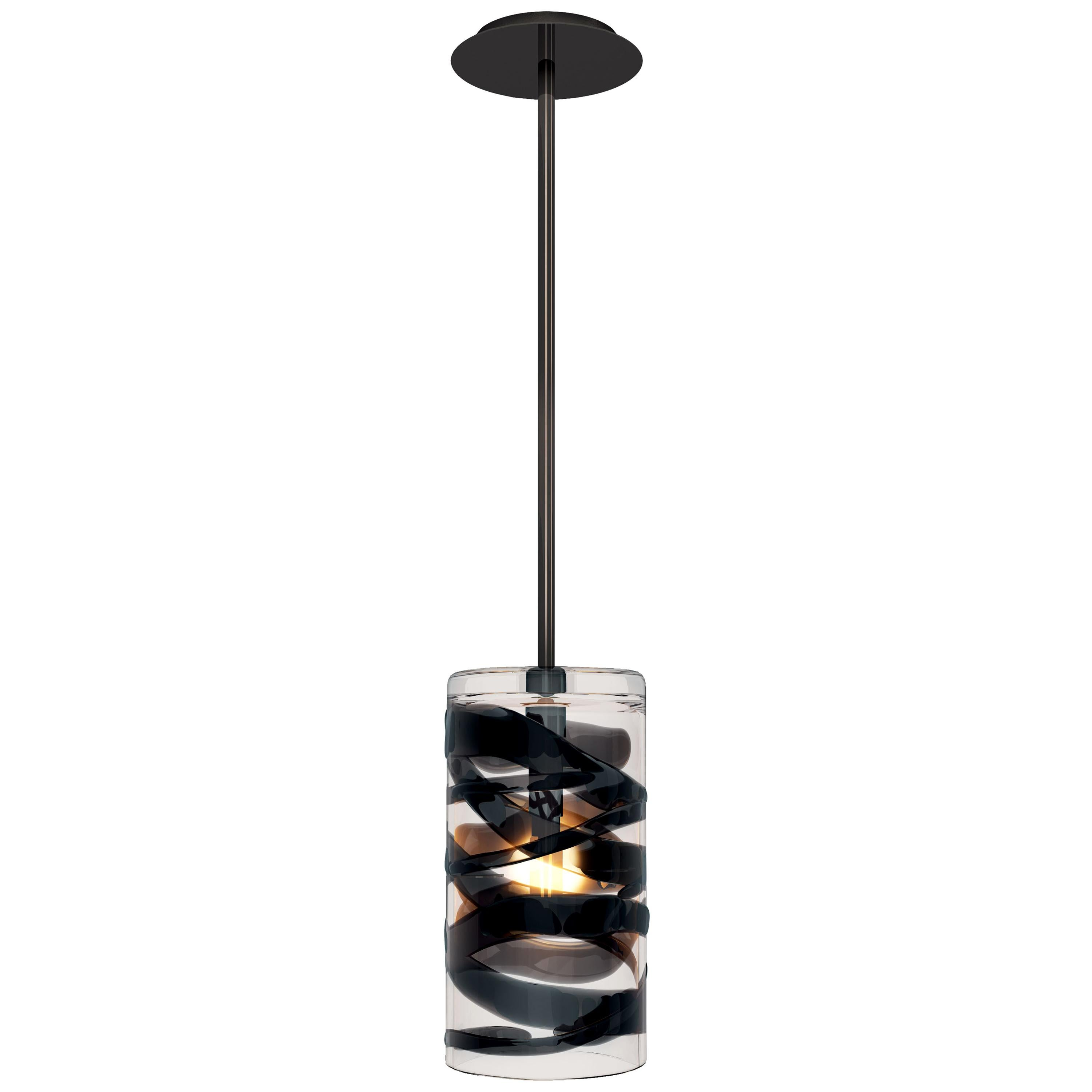 Peter Marino Cilindro Large Pendant in Crystal and Black Murano Glass