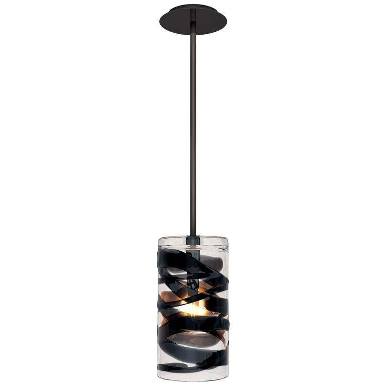 Peter Marino Cilindro Medium Pendant in Crystal and Black Murano Glass For Sale