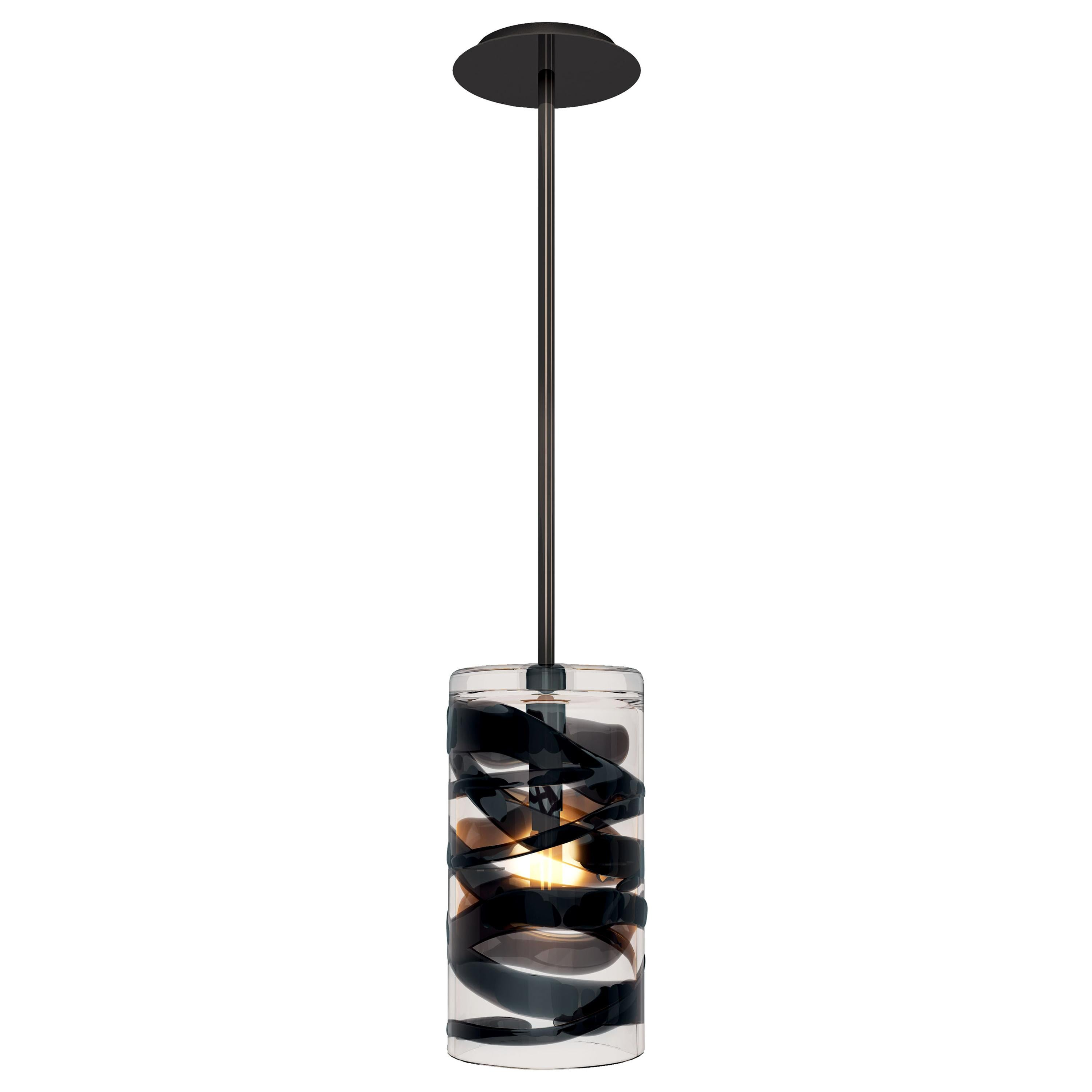 Peter Marino Cilindro Small Pendant in Crystal and Black Murano Glass