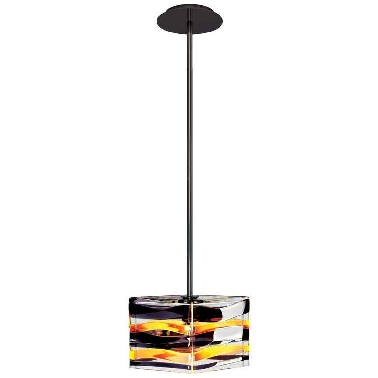Peter Marino Parallelo Large Pendant in Crystal, Tea and Black Murano Glass For Sale