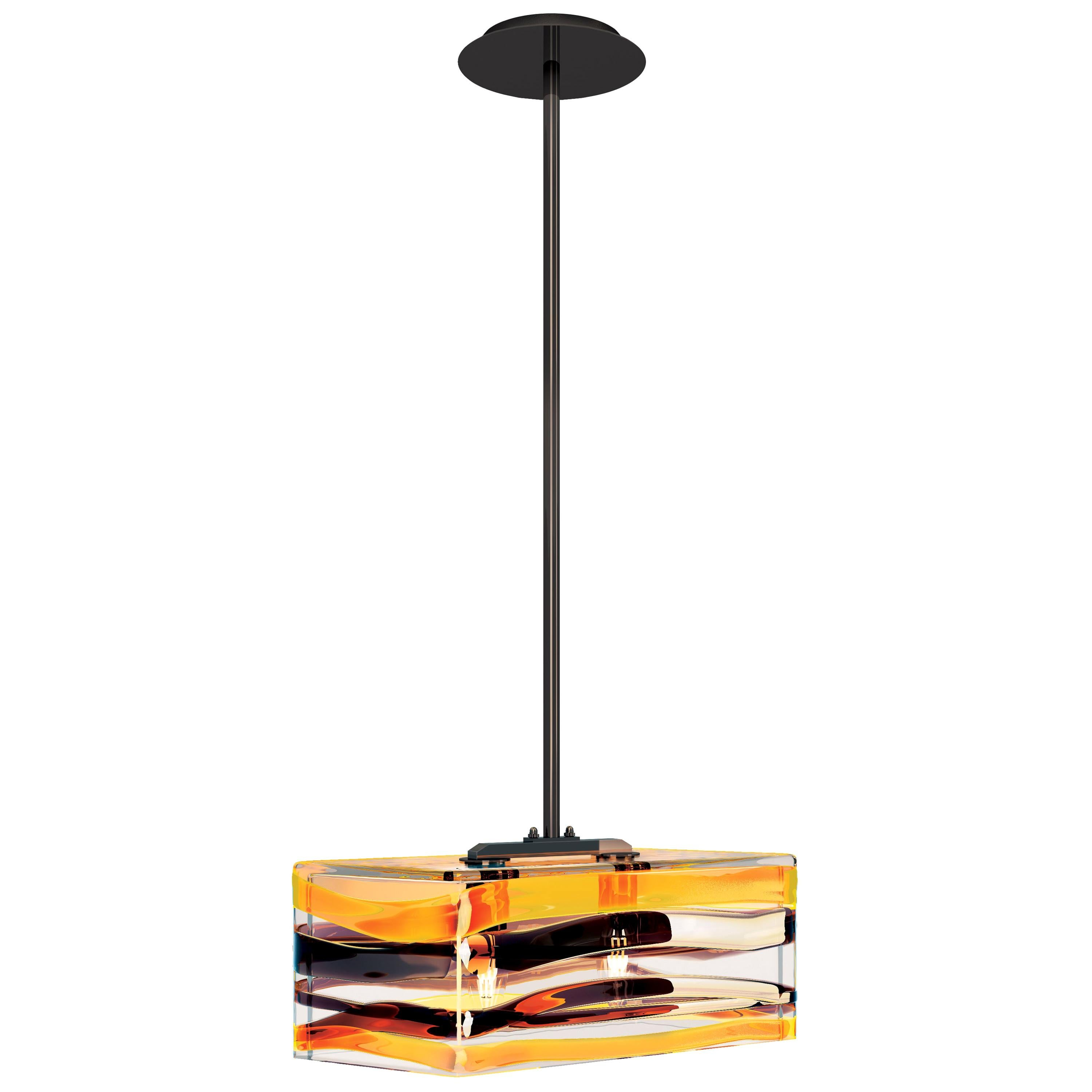 Peter Marino Parallelo Small Pendant in Crystal, Tea and Black Murano Glass