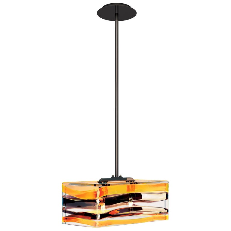 Peter Marino Parallelo Small Pendant in Crystal, Tea and Black Murano Glass For Sale