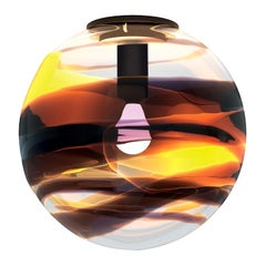 Peter Marino Rotondo Large Ceiling Lamp in Crystal, Tea and Black Murano Glass