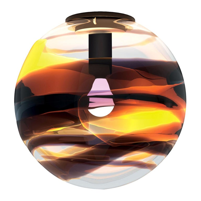 Peter Marino Rotondo Small Ceiling Lamp in Crystal, Tea and Black Murano Glass For Sale