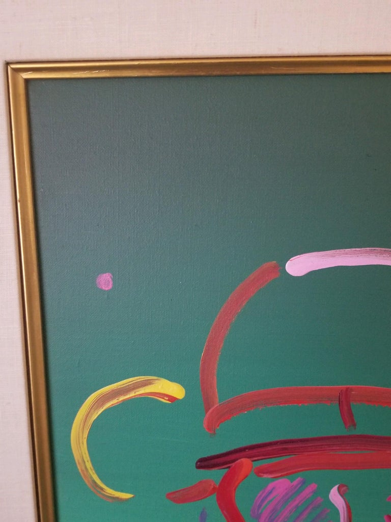 This is the quintessential Peter Max Acrylic Zero in Green. Pure in execution and bold in presentation. Presented in a gold leaf frame with classic linen spacer it is a museum quality acrylic on canvas. Provenance positions this piece from New