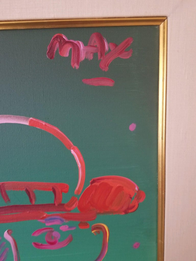 Modern Peter Max Acrylic, Zero in Green For Sale
