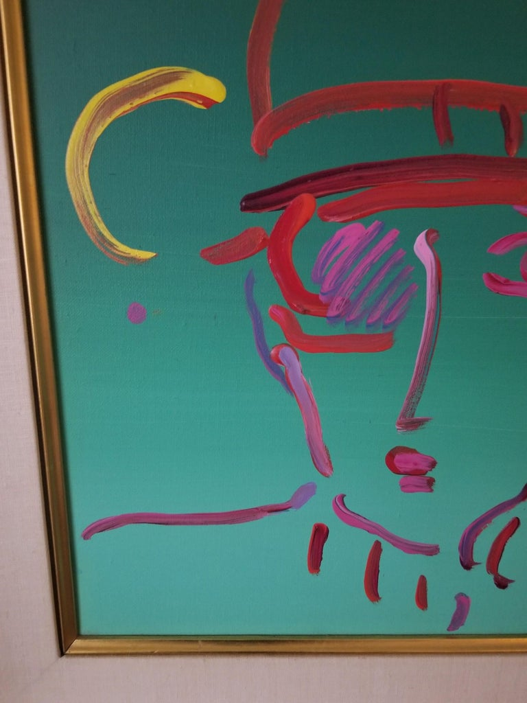 Peter Max Acrylic, Zero in Green In Good Condition For Sale In Boonton, NJ