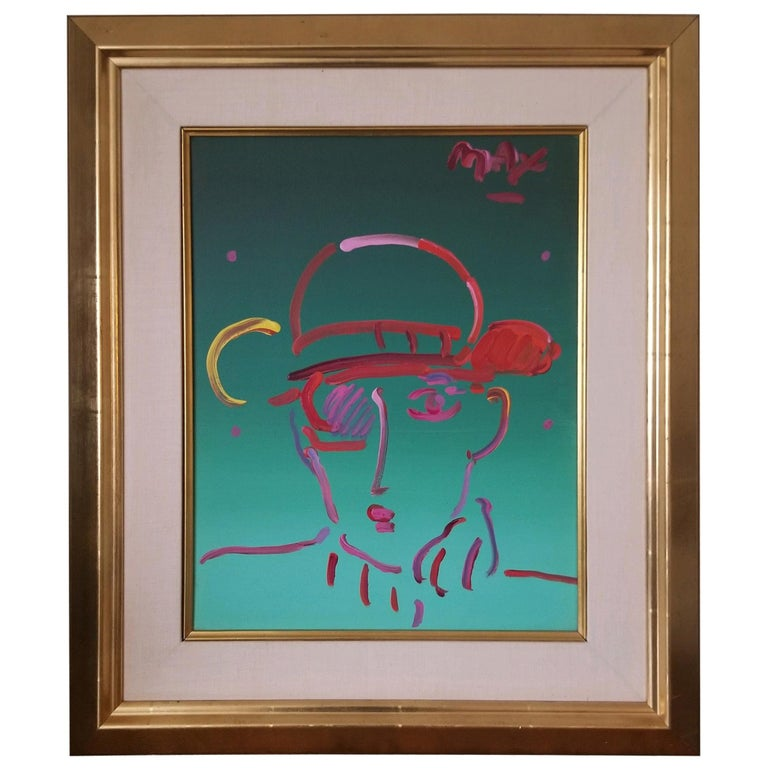 Peter Max Acrylic, Zero in Green For Sale