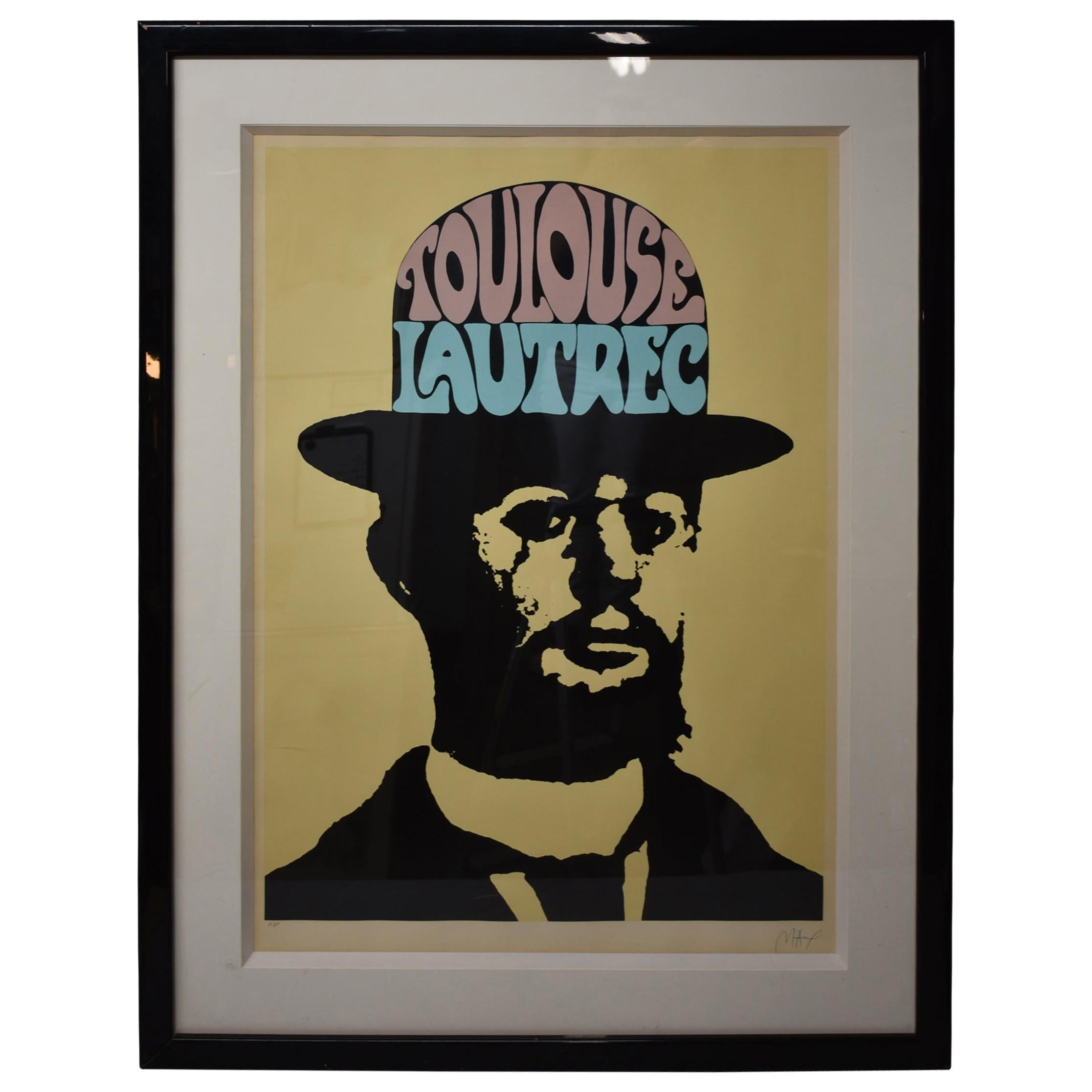 Peter Max Large Toulouse Lautrec in Yellow Artist Proof Signed and Framed Print