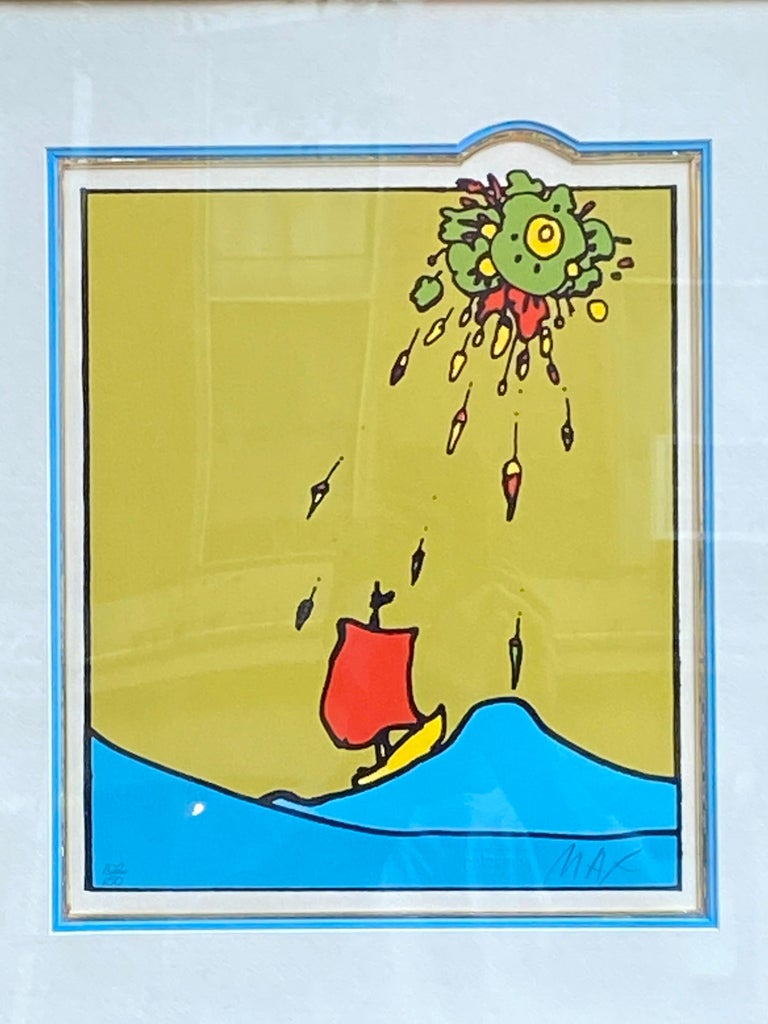 Peter Max Little Red Sailboat Serigraph on Paper For Sale 4