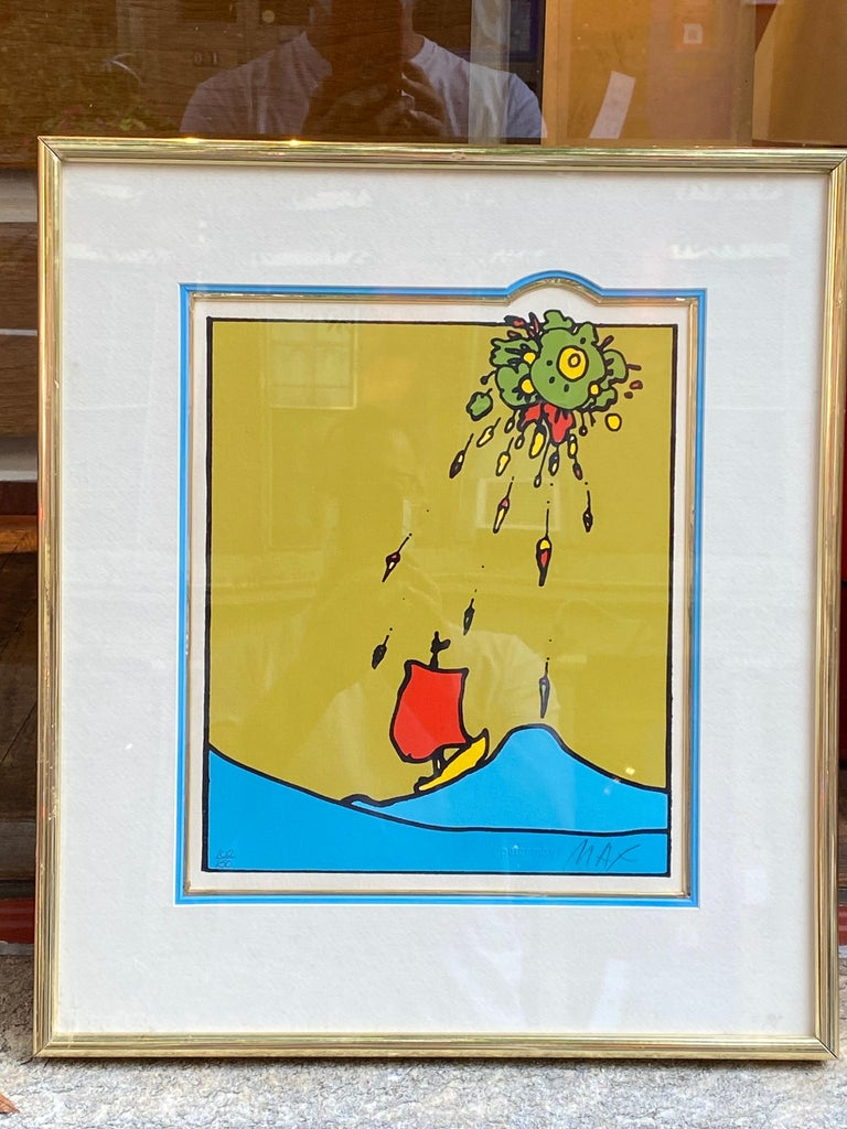 Peter Max Little Sailboat with Red Sail 1974. Image area measures: 10