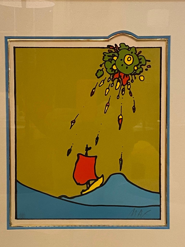 Mid-Century Modern Peter Max Little Red Sailboat Serigraph on Paper For Sale