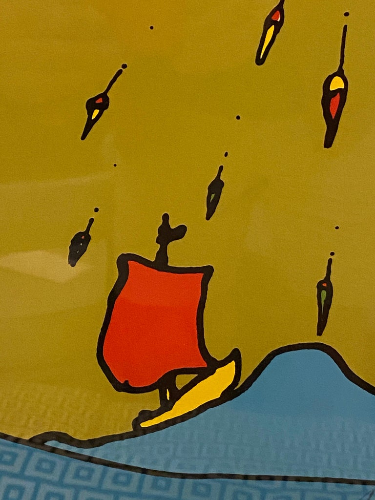 Peter Max Little Red Sailboat Serigraph on Paper For Sale 1