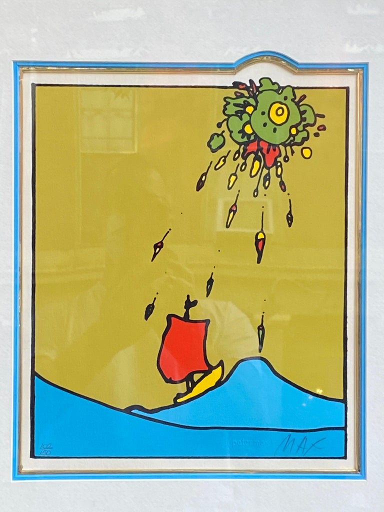 Peter Max Little Red Sailboat Serigraph on Paper For Sale 3