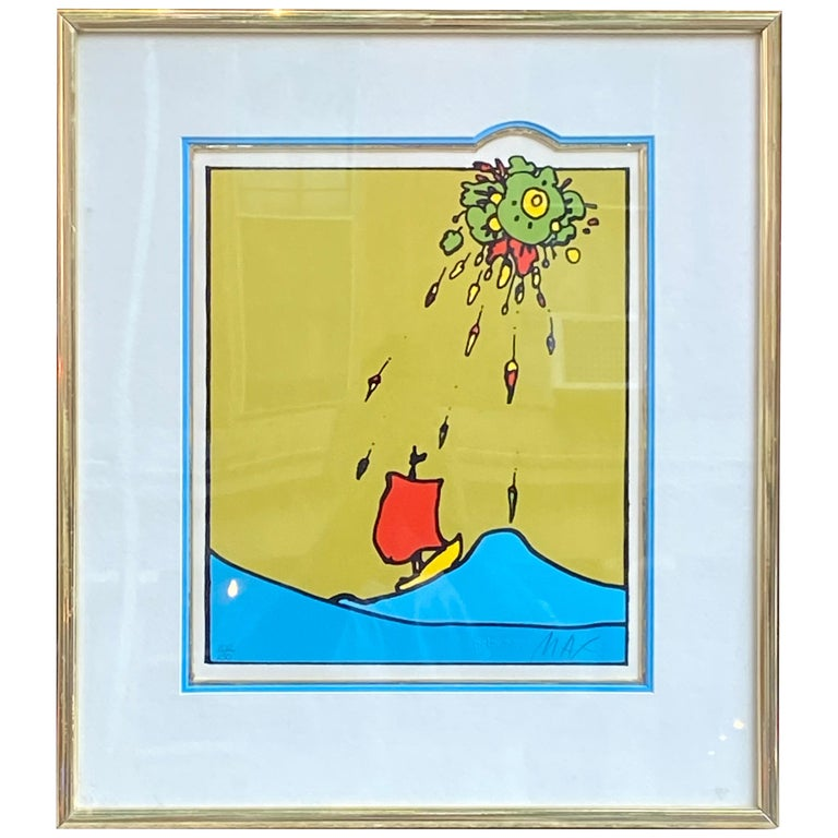 Peter Max Little Red Sailboat Serigraph on Paper For Sale