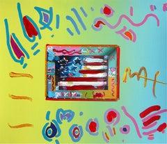 Flag, Original Mixed Media Painting, Peter Max - SIGNED