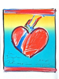 Heart II LOVE, Signed Lithograph with Hand Coloring, Pastel Drawing, Pop Art