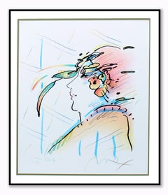 Peter Max Unique Hand Drawn Lady with Feathers Study Rare Woman Figurative 20th
