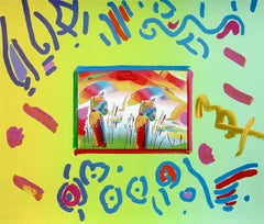 Two Sages, Original Mixed Media Painting, Peter Max - SIGNED